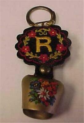 """Key Ring with Bell & Embroidered Watch Fob with initial """"R"""" attached    #12226C"""