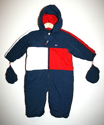 880d29f73 Vintage Baby Boys TOMMY HILFIGER Bunting Hooded Snowsuit W/ Mittens 6-12  Months