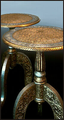 A Pair Of 20th Cen. Anglo Indian Wooden Gold & Silver Metal Covered Side Tables.