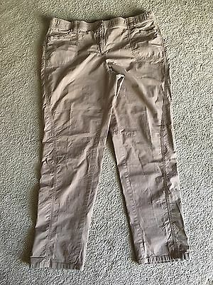 CHICOS WOMENS PANTS Sz 2.5 Womens 12 LT Brown Tan Cotton Stretch Ripstop Bling