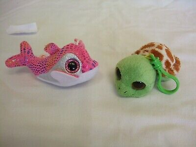 Ty Beanie Boos/Boo Keyclips Sandy (flippers) & Sparkles Approx 3''/7cms