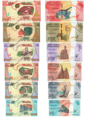 Set 6 Ariary UNC Banknotes MADAGASCAR 100 200 500 1000 2000 5000 note collection
