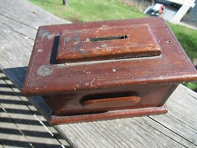 ANTIQUE PRIMITIVE 1800's AMERICANA SMALL WOOD BANK WITH THEFT PROTECTOR