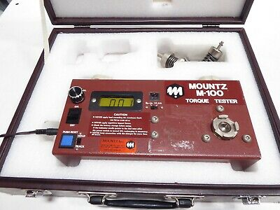 MOUNTZ M-100 TORQUE TESTER 0 to 100 LBF-IN CASE, 2 ADAPTERS  BATTERY CHARGER