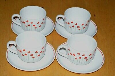 Boots Poppies Cup and Saucer x 4