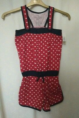 BNWT New Girls Faded Glory Playsuit Age 7. Red Navy and White