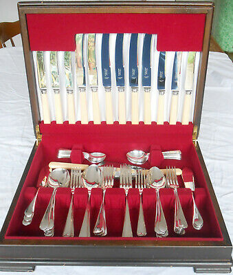 GOOD OLD ENGLISH 64pc CANTEEN FLATWARE CUTLERY SILVER PLATED VICEROY SHEFFIELD