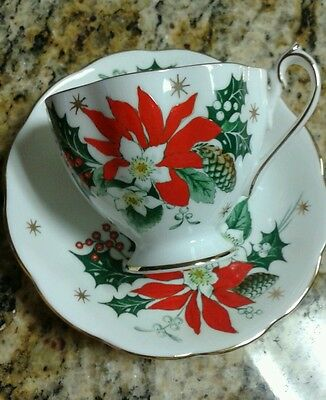 "Queen Anne Fine Bone China Teacup & Saucer Set  ""NOEL"" Ponsettia Design England"