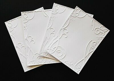 Embossed White Card Craft Paper X 4 - Border Outline Frame Mother's Day Cards