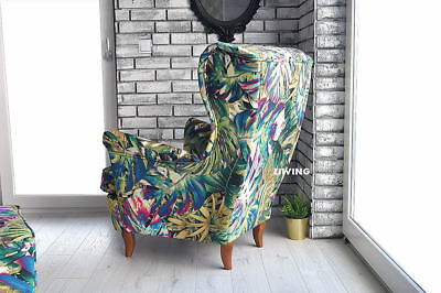 WING ARMCHAIR high back , JUNGLE PATTERN MULTI- COLOURED