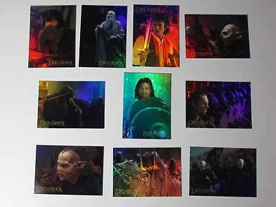 2001 Topps Lord Of The Rings Fotr Prismatic Foil Ten (10) Card Set