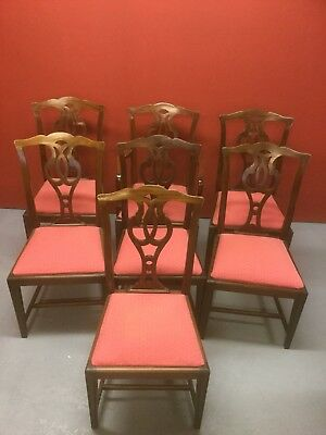 Antique Set Of 7 Mahogany Dining Chairs With Drop In Seats Sn-655
