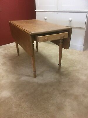 Antique  Pine Drop Flap Kitchen Table With Drawer Under Sn-92
