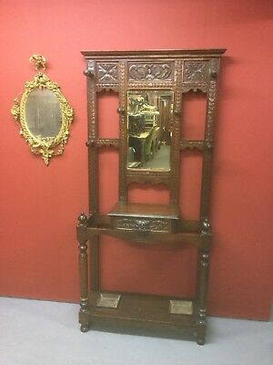 Antique  Carved Oak Green Man Coat / Hall Stand Sn-657