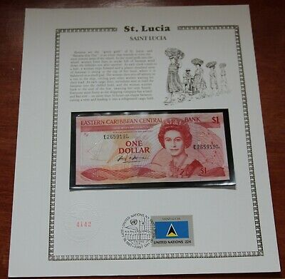 LUCIA $10 NOTE 1985 PICK # 23L1 UNC with CENTER FOLD = AU EASTERN CARIBBEAN ST