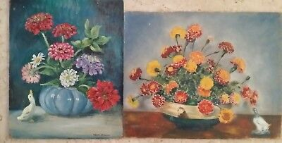 """Colorful Vintage Floral Still Life + Old Boat Paintings Signed """"Carol Chapman""""!"""