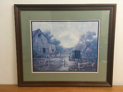 BREAK TIME by Schaefer//Miles 23x32 FRAMED PRINT Horses Haying Stacker Amish