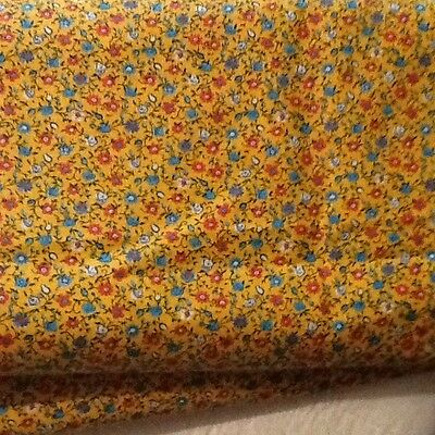 4-2/3 Yards Cotton Fabric Cheddar Yellow With Allover Floral