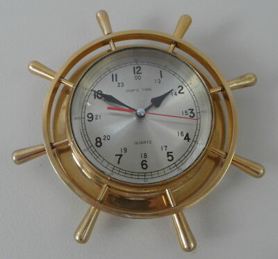 Ships Clock, heavy polished brass case.