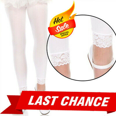Opaque Solid White Tights Costume Cosplay Halloween Footless Lace Trim Pantyhose