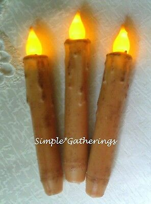 "Grungy IVORY TIMER Taper Candles 6.5"" Set of 3 Beeswax LED Primitive Farmhouse"