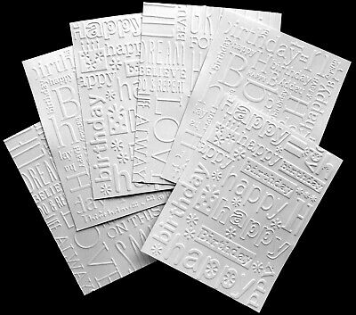 Embossed Happy Birthday Card Craft Paper White X 6 - Mixed Card Fronts