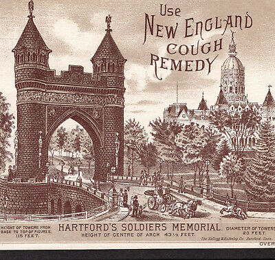 New England Cough Remedy 1800's Soldiers Memorial Hartford Victorian Trade Card