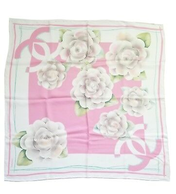 New Authentic Chanel Camellia Print Light Pink 100% Silk Scarf Nib