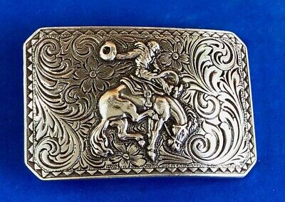 Vintage? Rodeo cowboy tipping hat on horse western belt buckle with flower swirl