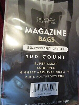Max Protection 100 count Magazine Bags 8 3/4 x 11 1/8