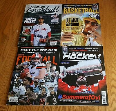 Four August 2018 Beckett Card Price Guides Baseball Basketball Football Hockey