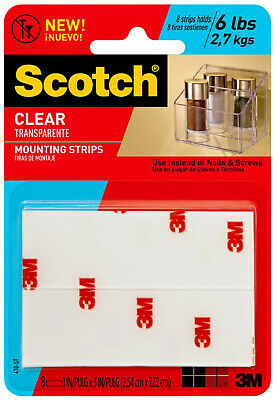 """3M Scotch Clear Mounting Strips 1"""" x 3"""" Indoor Outdoor UV Resistant 8ct"""