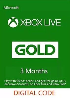 Xbox Live 3 Month Gold Membership Code for Microsoft Xbox 360 / XBOX ONE Key