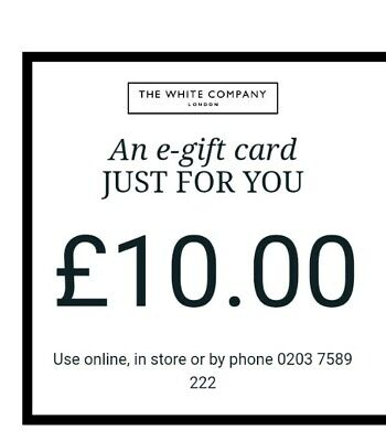 £10 The White Company E - GIFT CARD / DIGITAL VOUCHER receive same day!