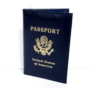 Blue USA Leather Passport Cover Holder Wallet ID Credit Card US Seller