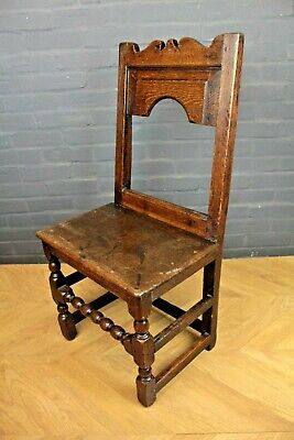 Antique Early C18th Georgian Oak Hall Chair