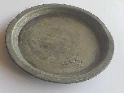 """Antique Pewter Plate Dish 4 Hallmarks Signed AB Europe 7.8 """"Collectible Plate"""
