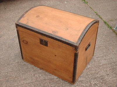 Antique Victorian  Rustic  Pine  Dome Top Trunk / Chest