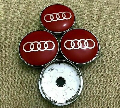 2019 RED Audi Alloy Wheel Centre Caps x4 60mm 4B0601170 A 1 2 3 4 5 6 7 RS SLINE