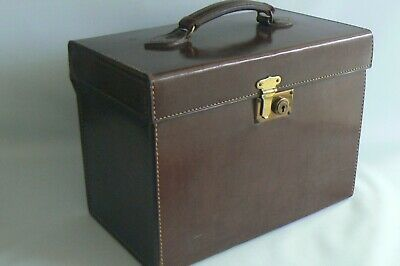 Antique Brown Leather Top Hat Case / Travel Box