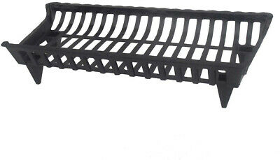 Fireplace Grate 30 in. Cast Iron Black Rustic High Temperature Paint Coated