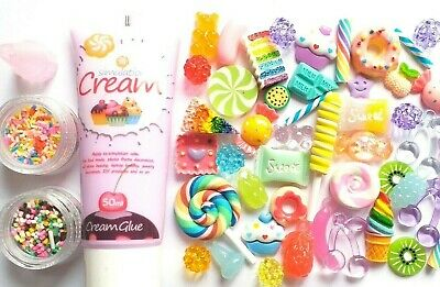 DECODEN Whip glue clay, Fake candy cabochon set with free nozzle and SPRINKLES 6