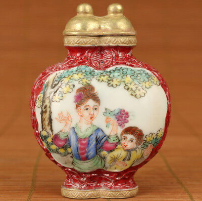 Antique old Jingdezhen Porcelain Hand Painting Mother lOVE Double snuff bottle