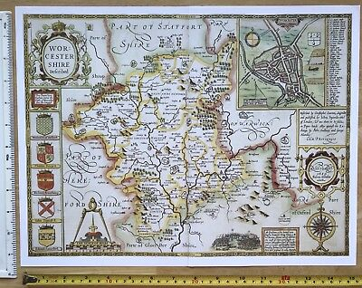 """Old Tudor map of Worcestershire, England: John Speed 1600's 15"""" x 11"""" (Reprint)"""