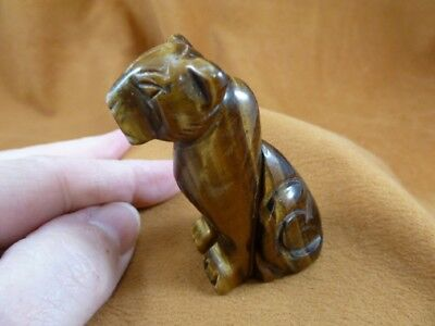 Y-CHE-709) brown Tiger's eye CHEETAH gemstone GEM carving wild CATS cat statue