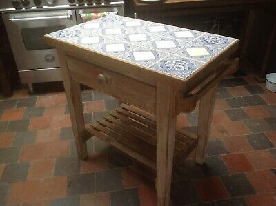 Victorian Washstand Or Butchers Block With Blue Tiles Pine Drawer