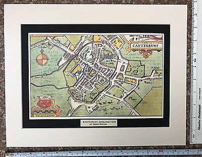 Mounted Old Tudor, Antique town plan map Canterbury, UK: Speed 1600s Reprint