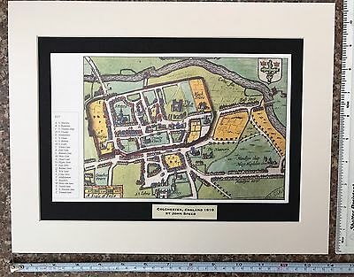 Mounted Old Antique Tudor town plan map Colchester, UK: Speed 1600s Reprint