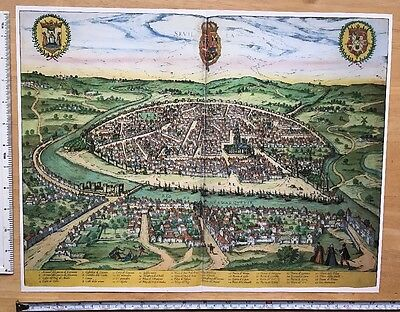 Old Antique Map of Seville, Spain: 1588 Braun & Hogenberg REPRINT 1500s Tudor