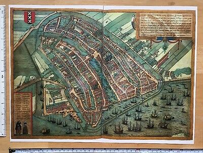 Antique Map Amsterdam, Netherlands: 1572 Braun & Hogenberg REPRINT 1500s Tudor